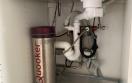 washcupboard after changing of pipes / vaskeskab efter ændring af rør